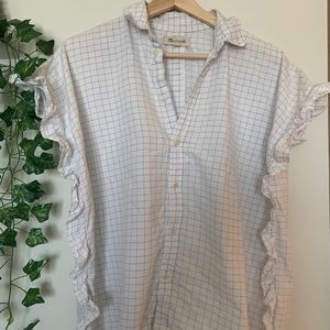 Windowpane ruffle button down blouse